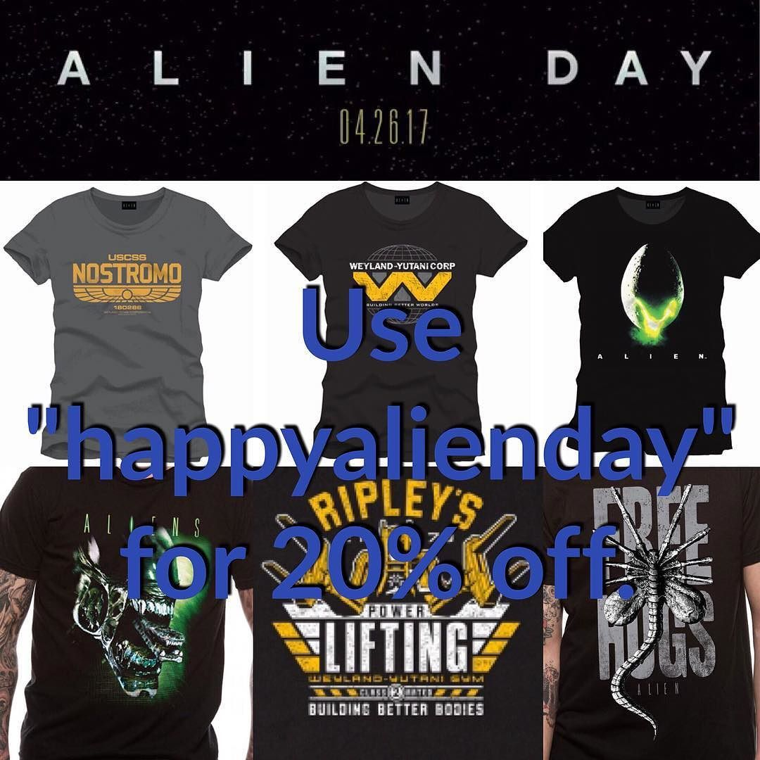 """Happy Alien Day! To celebrate this joyous occasion you get 20% off on all Alien shirts with the code """"happyalienday"""" at www.dirtees.nl.  This year marks the 30th anniversary of the release of an Alien movie to theaters Alien's sequel Aliens. The date is also a reference to the moon on which Aliens is set  April 26 4/26 LV-426. #alien #Aliens #alienday #20thcenturyfox #aliencovenant #ridleyscott #sigourneyweaver #hrgiger #facehugger #freehugs"""