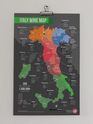 Italy Wine Regions Map Italien Karte Weinkarte
