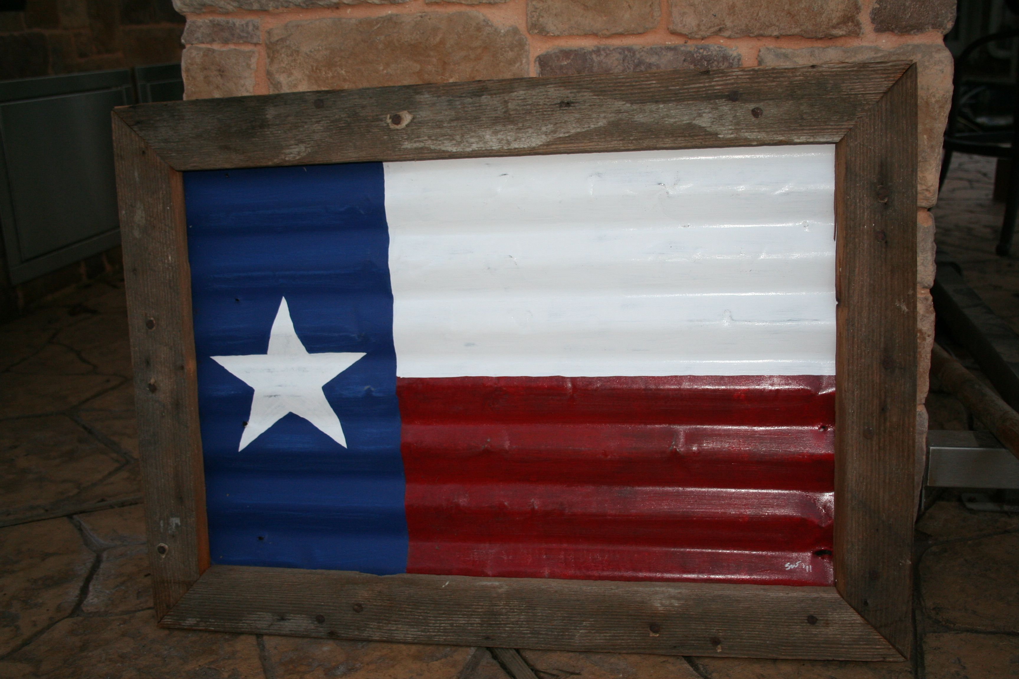 The Texas Flag I Painted On Recycled Tin And Put In A