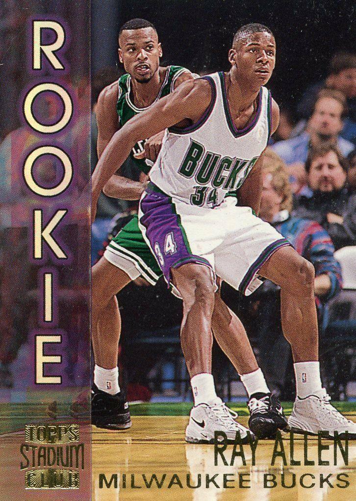 Ray allen 199697 topps stadium club rookie card rc 19