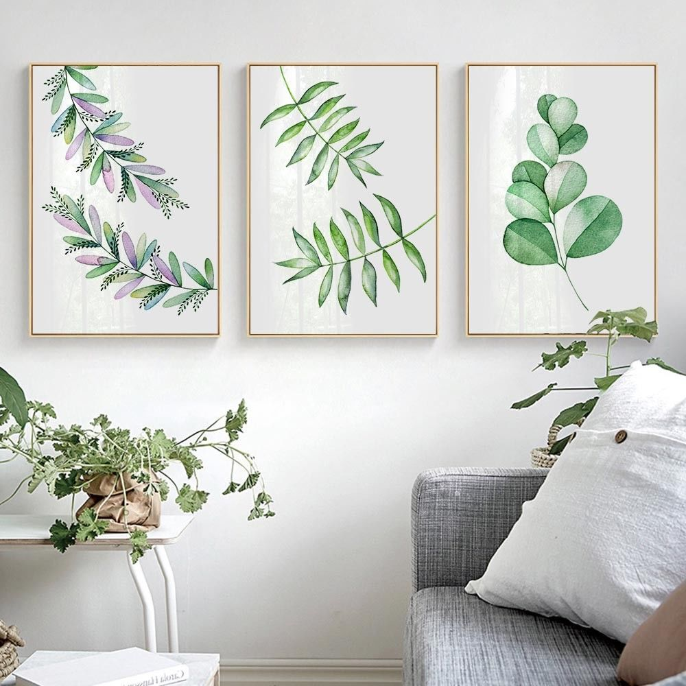 Waltercolor plant leaves canvas art poster print wall picture