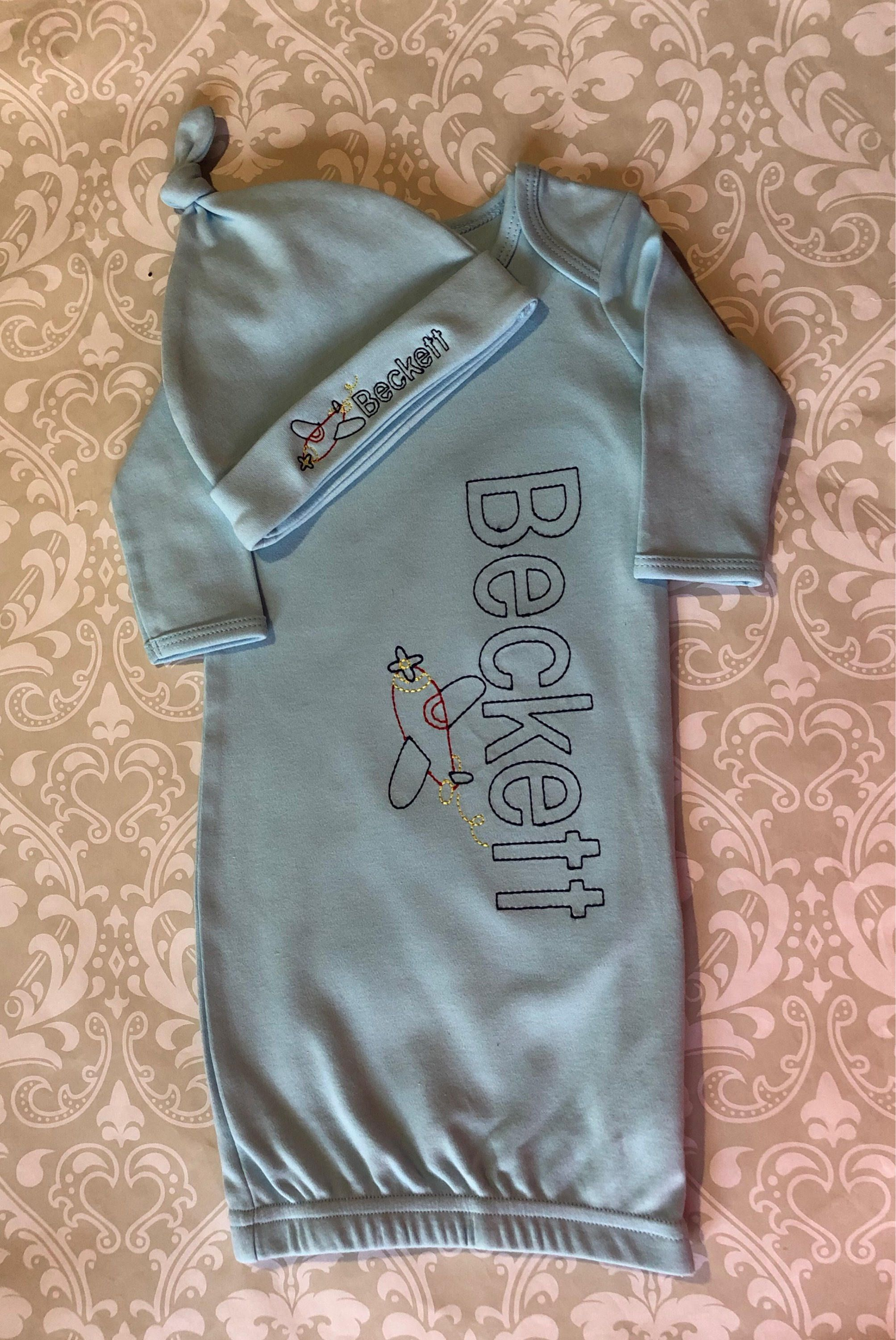 Monogram baby boy gown and hat, embroidered infant gowns, airplane ...