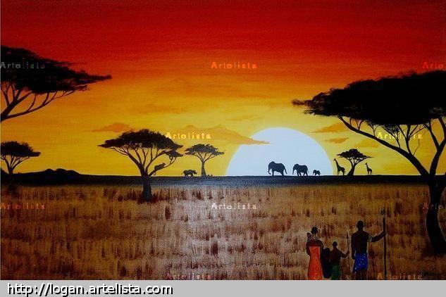 Atardecer En Africa Logan Castillo Artelista Com Dibujo Atardecer Atardecer Paisajes De Africa