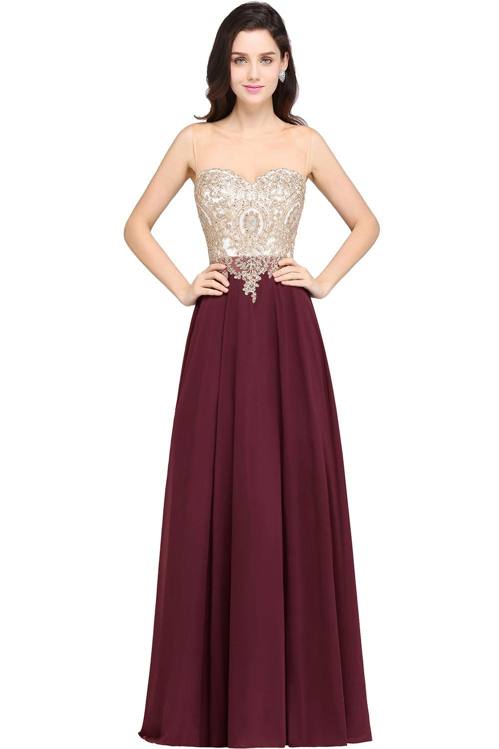 27c9e040b3c MisShow Sheer Neck Rhinestone Gold Lace Long Formal Evening Gown ...