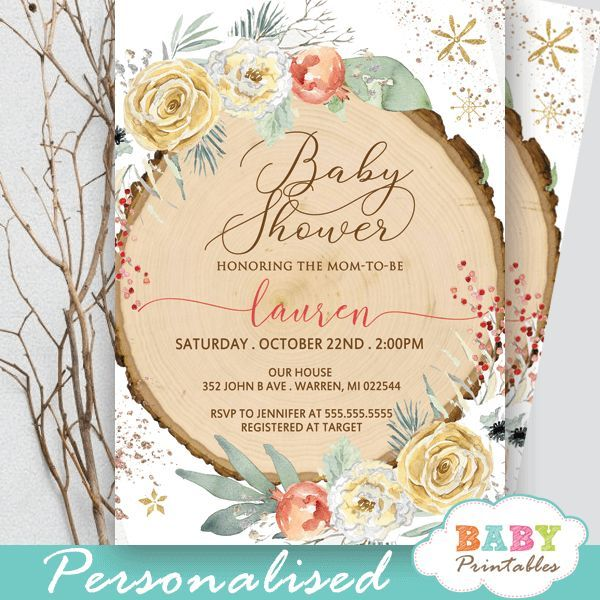 Floral Rustic Wood Slice Winter Wonderland Invitations – D548 - Baby Printables