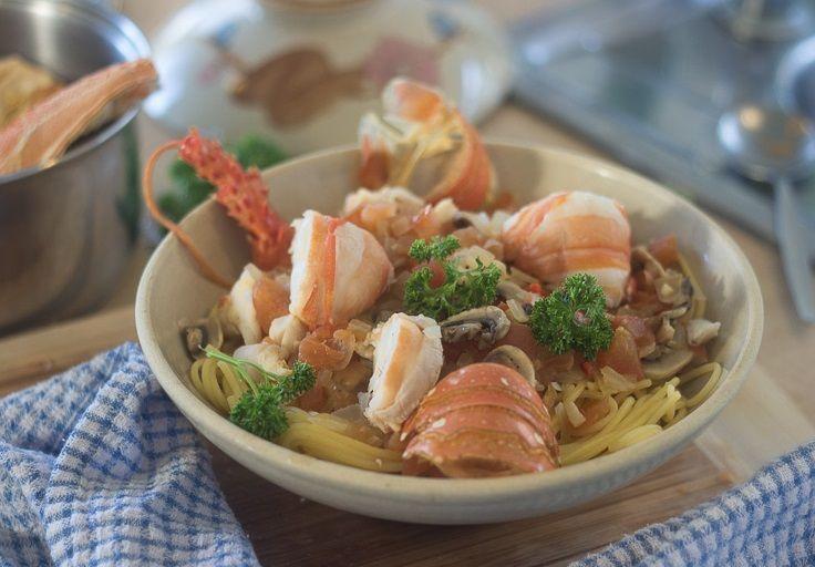 Spaghetti with Lobster - using fresh West Australian lobster- YUM!