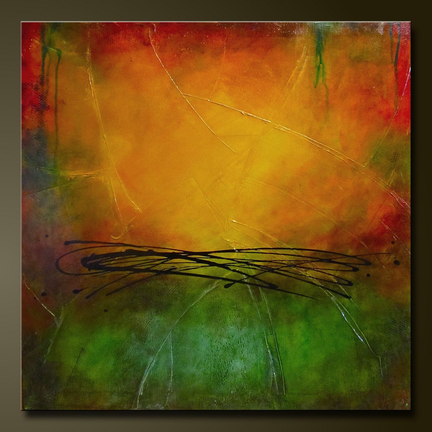 On Hold For Tina - Autumn - 24 x 24 - Abstract Acrylic Painting on ...