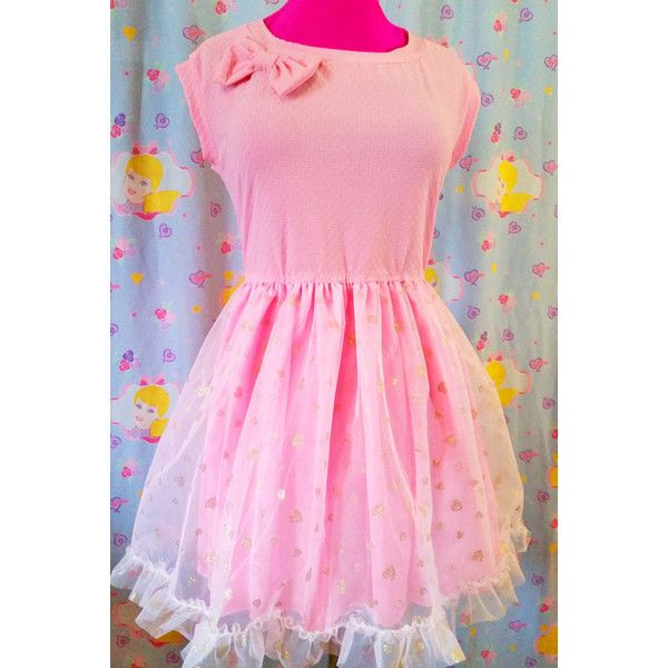 60s retro dress, pink gold heart vintage style fairy kei size extra... ($70) ❤ liked on Polyvore featuring dresses, textured dress, pink dress, transparent dress, stretch dress and rose gold dress