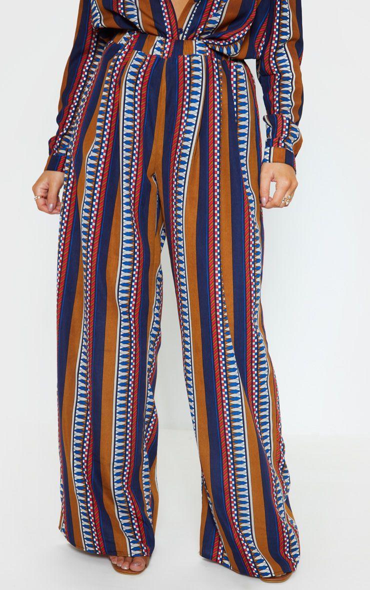 df047a9ec2 Brown Geo Stripe Wide Leg Beach Pant in 2019 | Products | Pants ...