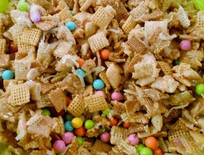Easter Crack (Gooey Chex Mix with Pastel Sixlets): Snippets 'N Stuff