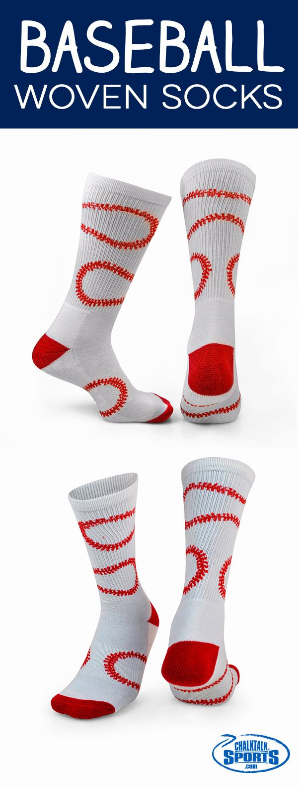 Show off your #baseball pride with a pair of our stylized stitches woven socks!