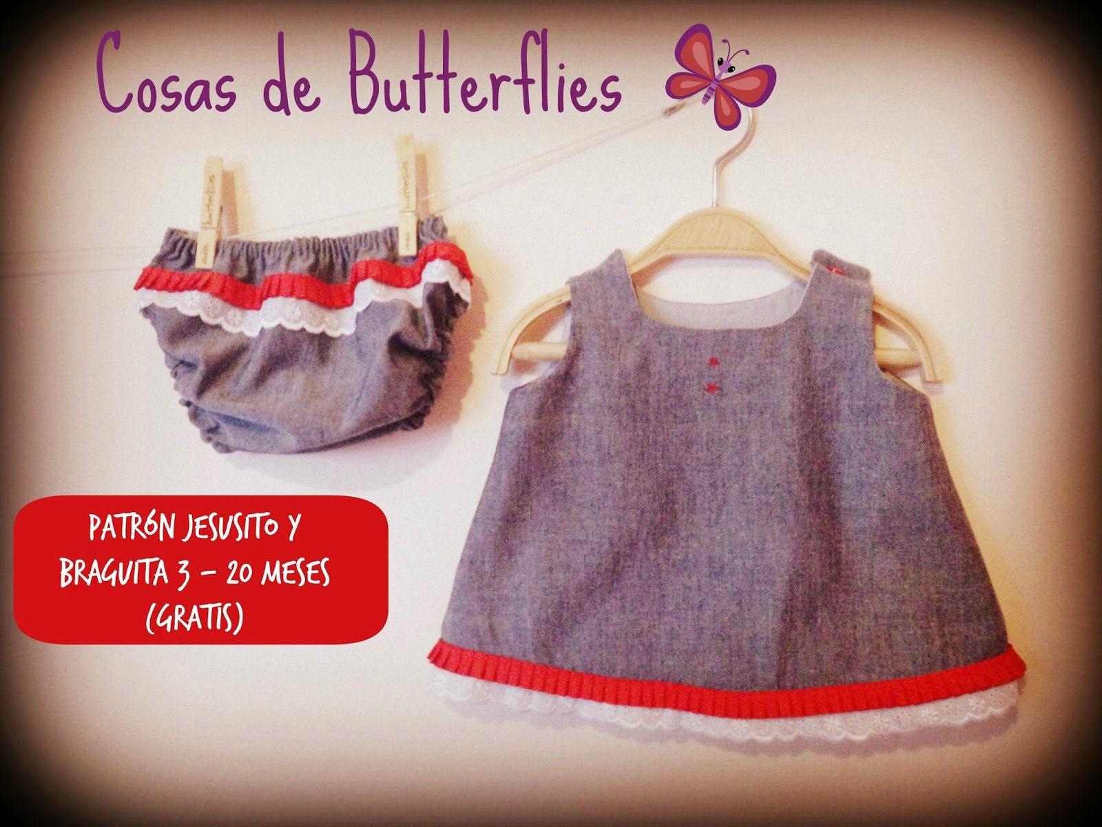 Cosas de Butterflies: Patrón gratis vestido bebé (jesusito) tallas 3-20 meses
