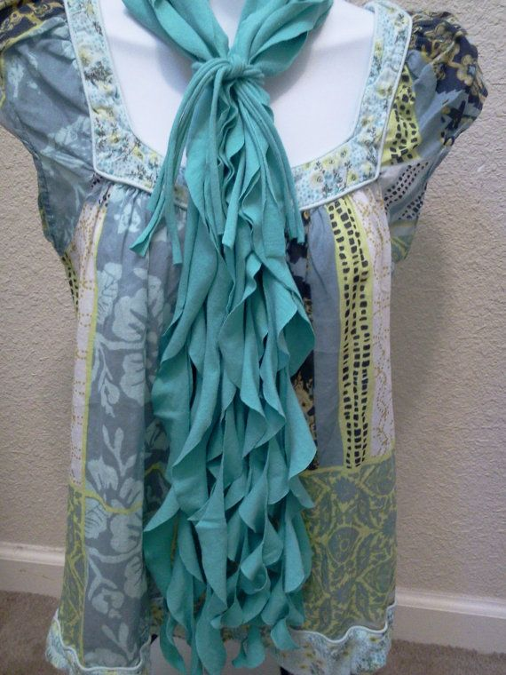 T Shirt Scarf Scalloped Shredded Recycled by LonestarFashions, $12.00