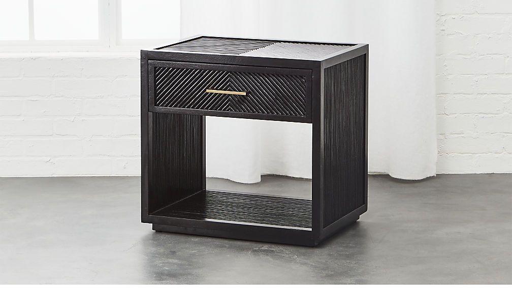 Carlo Black Wood Nightstand Cb2 Modern Nightstand Wood Nightstand Wood Furniture Design