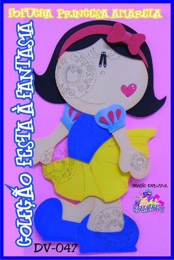 """Fofucha plana Blancanieves Moldes de fofucha princesa amarela de Carla Campos de la colección """"Festa a Fantasia"""". Muñeca plana en goma eva de la princesa d"""