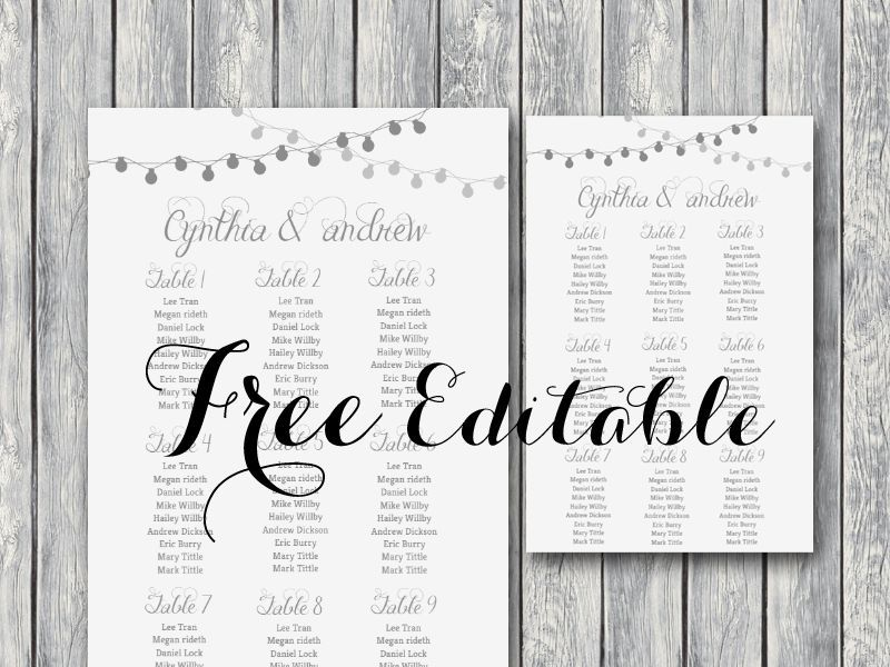 free editable wedding seating chart template printable night lights - Free Printable Wedding Seating Chart Template