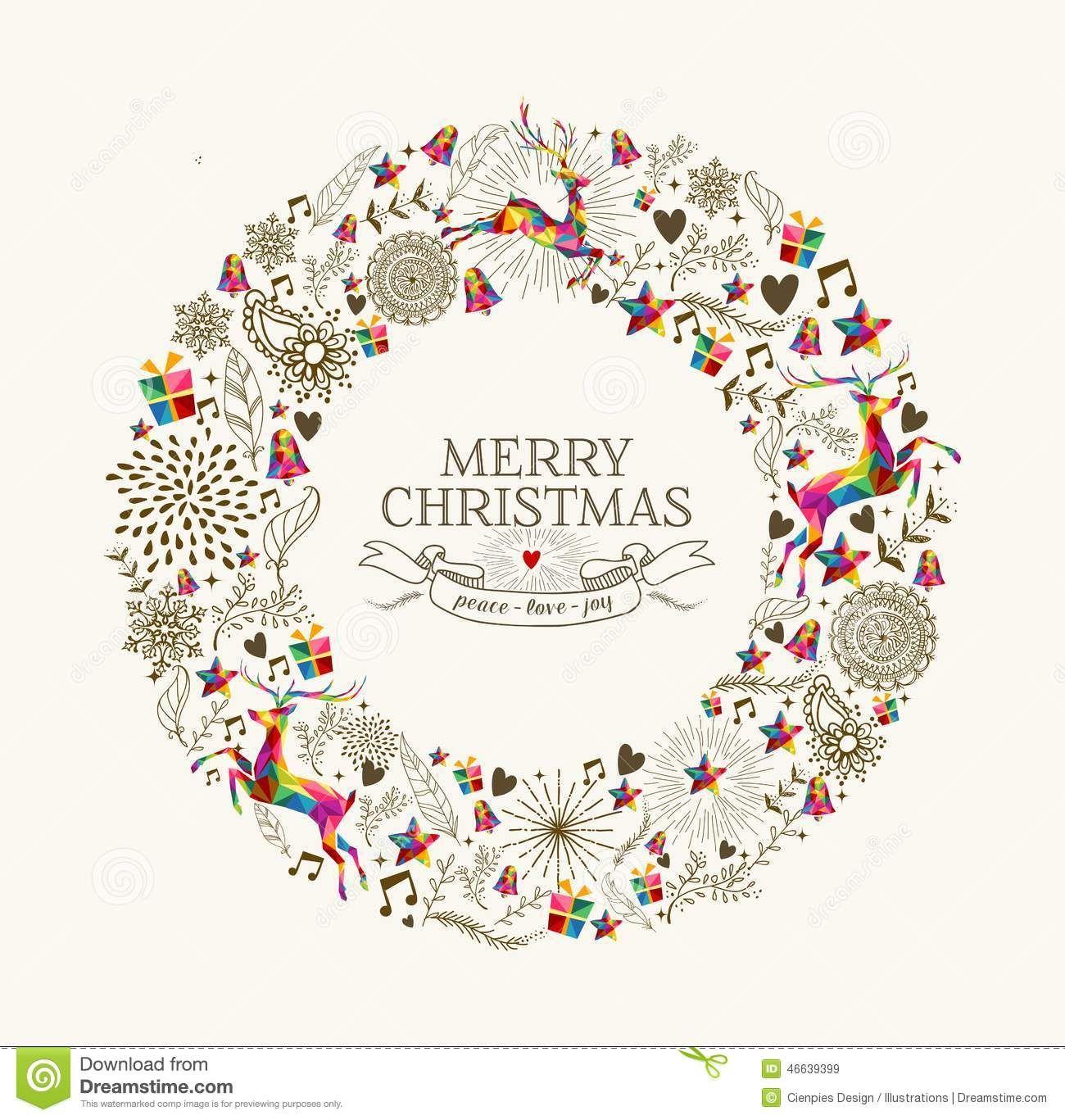 Vintage Christmas Wreath Greeting Card Stock Vector - Image: 46639399