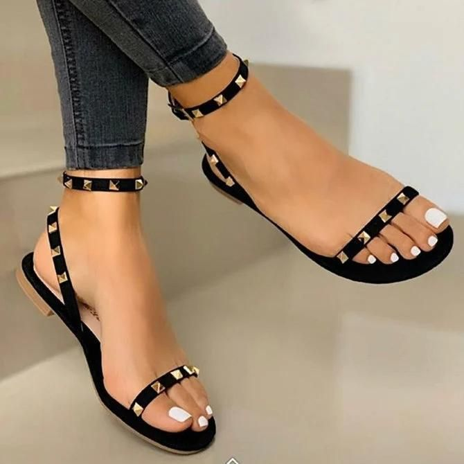 Description : Heel Height Type:Flat Heel Upper Material:Leather Sandals Style:Ankle Strap Sandals Shoes Style:Buckle Strap Heel Height:Flat Heel Type:Flat Heel