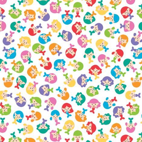 Ditsy mermaids fabric by petitspixels on Spoonflower - custom fabric