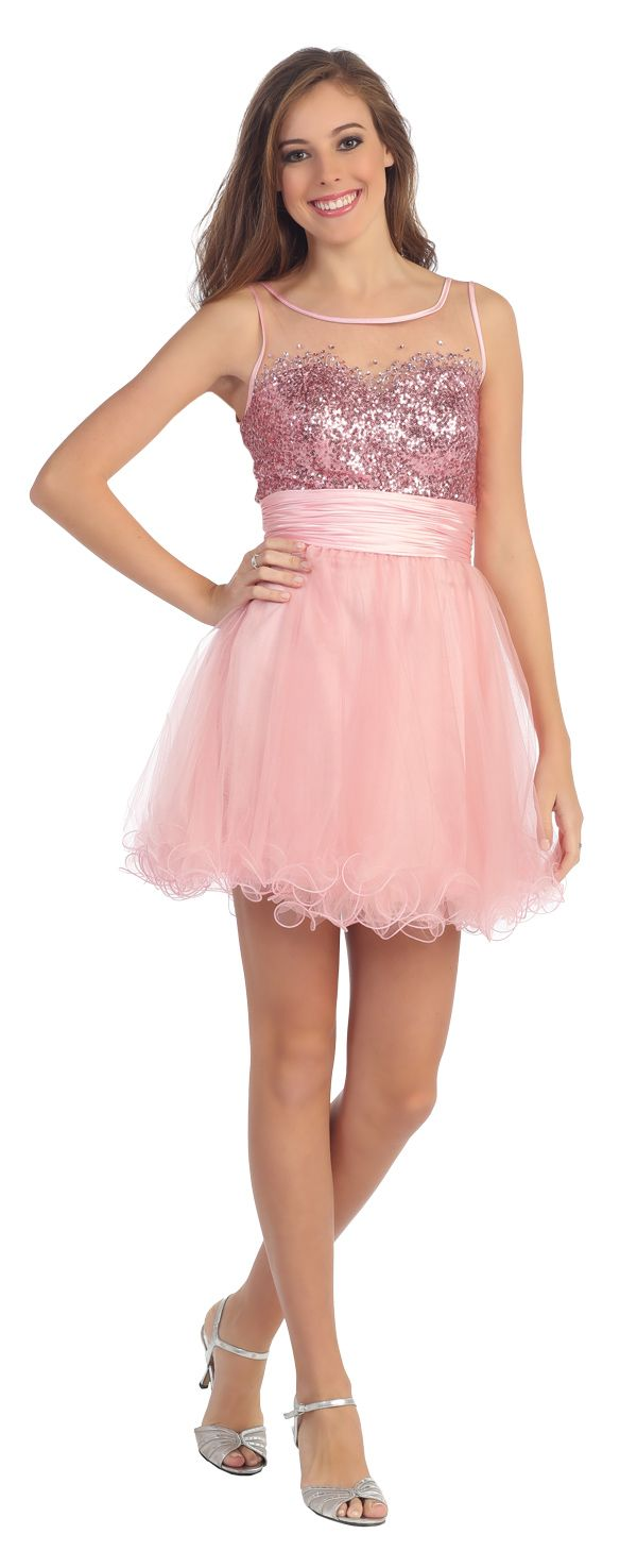 Illusion Neckline Pink Short Puffy Prom Dress (4 Colors Available ...