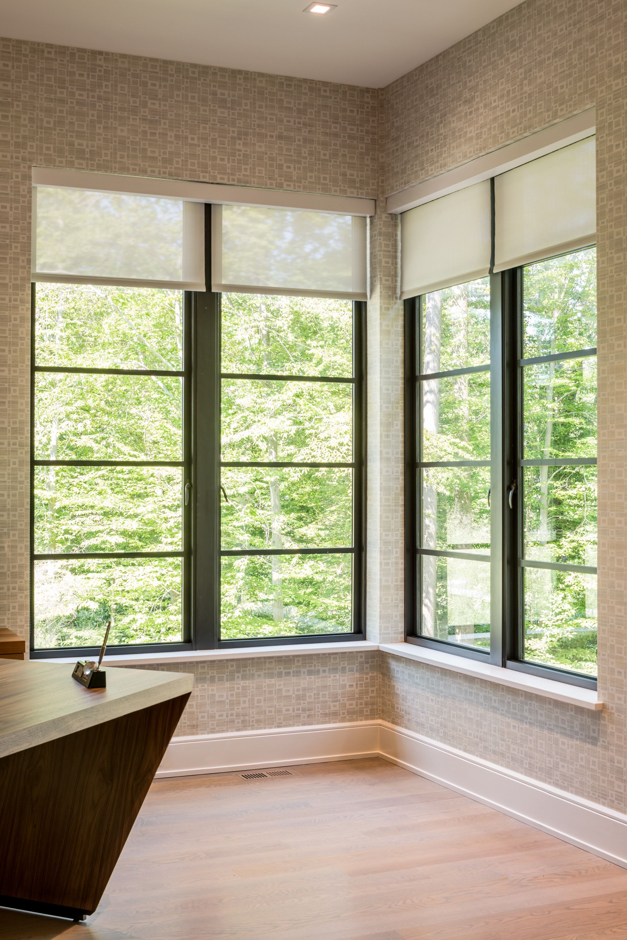 Transitional Residence Contemporary Home Office With Corner Window Pennsylvania Contemporary Windows Contemporary Home Offices Contemporary Window Treatments