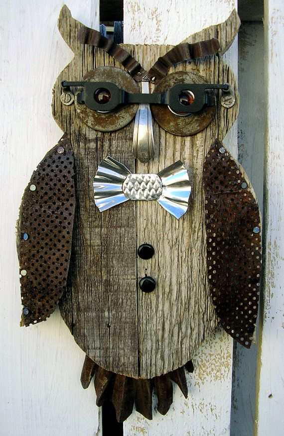 Bow Tie 'At The Opera' Owl Wall Art | Rustic Home Decor | Birthday, Father's Day | Industrial ...