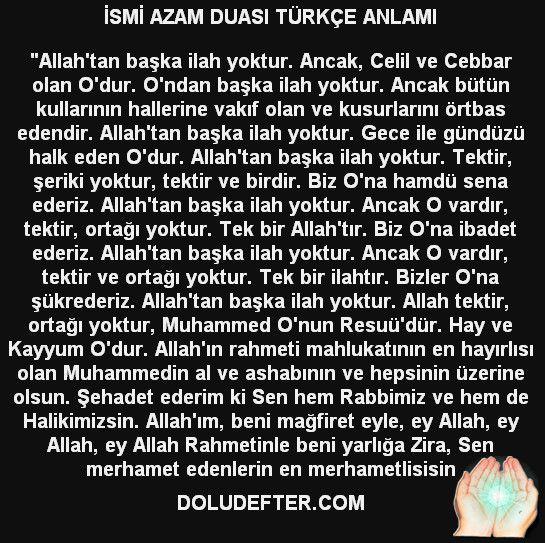 Ismi Azam Duasinin Turkce Anlami Sozleri Ve Okunusu Dualar