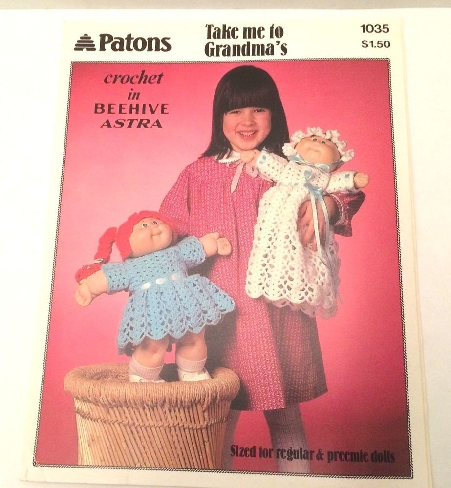 1985 Patons Cabbage Patch Doll Clothes Crochet Patterns in Beehive ...