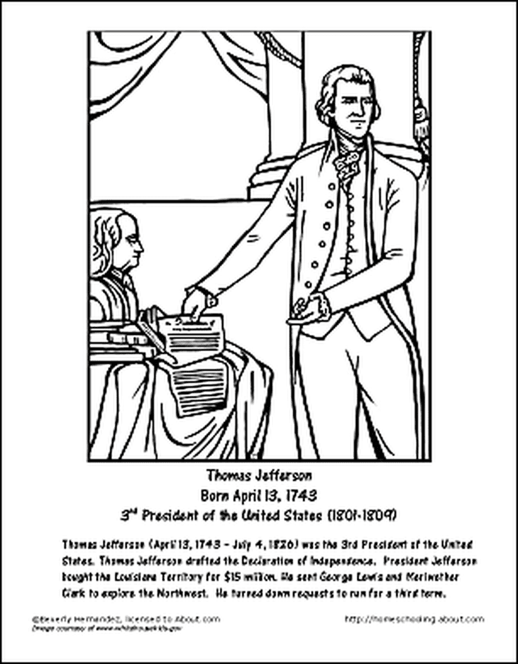 Thomas Jefferson Wordsearch, Worksheets, Coloring Pages