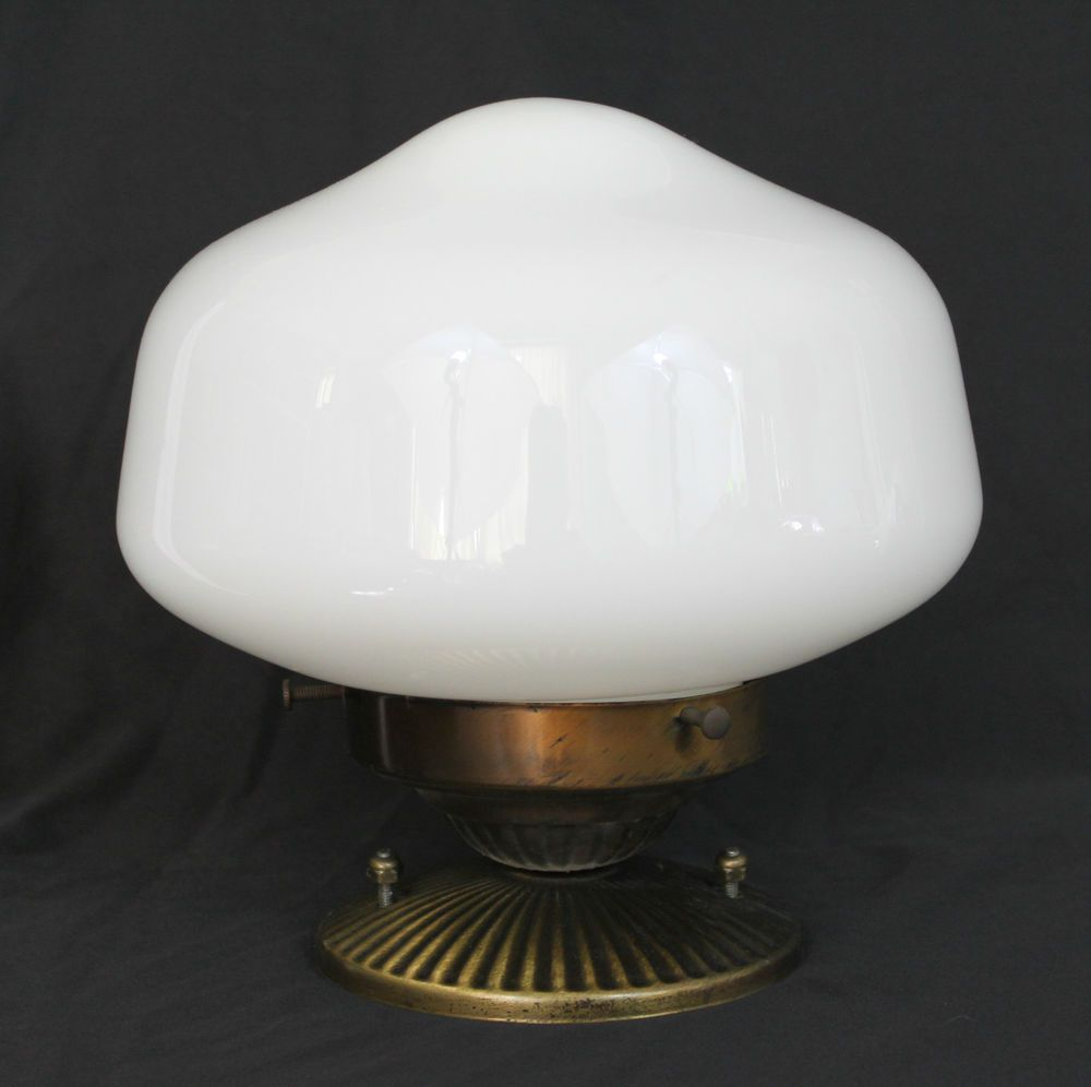 Vintage school house milk glass globe ceiling mount light fixture vintage school house milk glass globe ceiling mount light fixture art deco arubaitofo Gallery