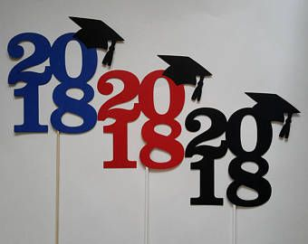 6 graduation 2018 centerpiece sticks with grad caps double sided