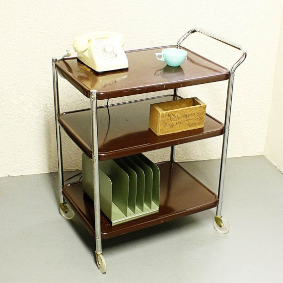 Vintage metal cart serving cart kitchen cart had one of these it was red,and