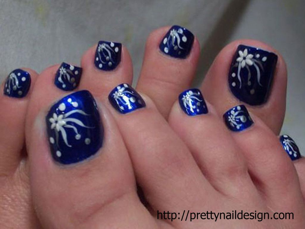 Pretty Nail Designs For Toe dark blue and white flowers---pinned ...
