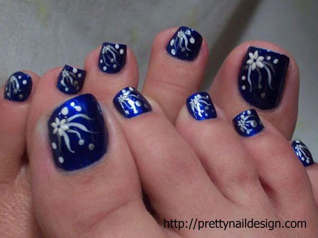 Pretty Nail Designs For Toe dark blue and white flowers---pinned by  Annacabella - Pretty Nail Designs For Toe Dark Blue And White Flowers---pinned By