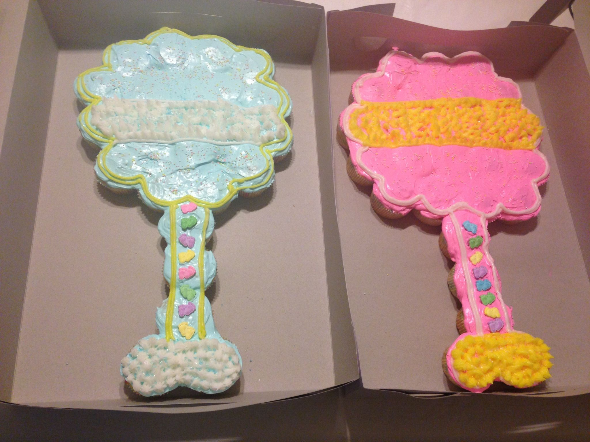 Baby rattle cupcake cake cakes pinterest babies for Baby shower cupcake decoration ideas