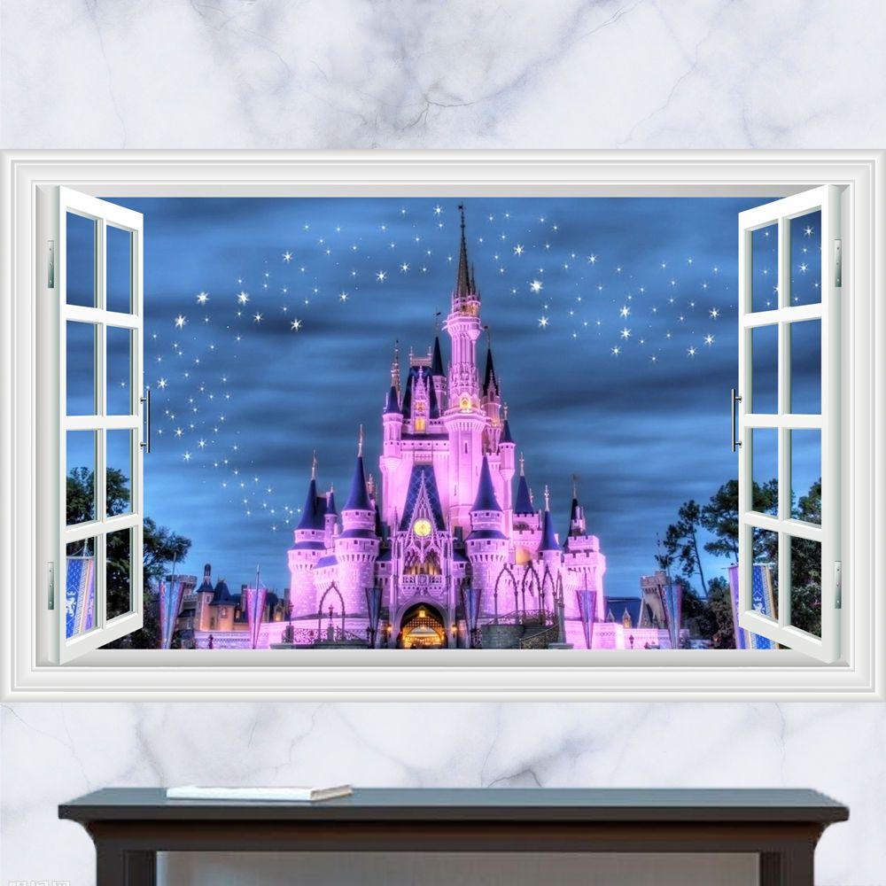 Generic 3d Windows Disney Land Princess Castle Pretty Wall Decal