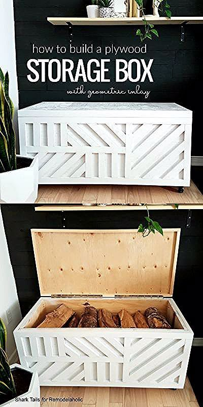Easy Plywood Storage Box with Geometric Inlay #storage #bench #diyproject #woodwork #remodelaholic