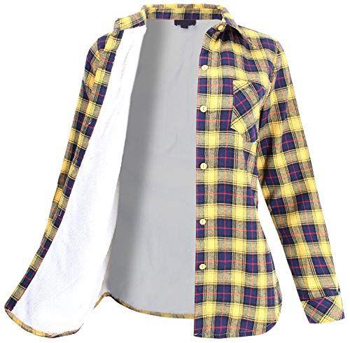 ae3bc31bc9a62 New Ladies  Code Women s Sherpa Fur Lined Plaid Flannel Button Down Shirt  Women fashion Tops