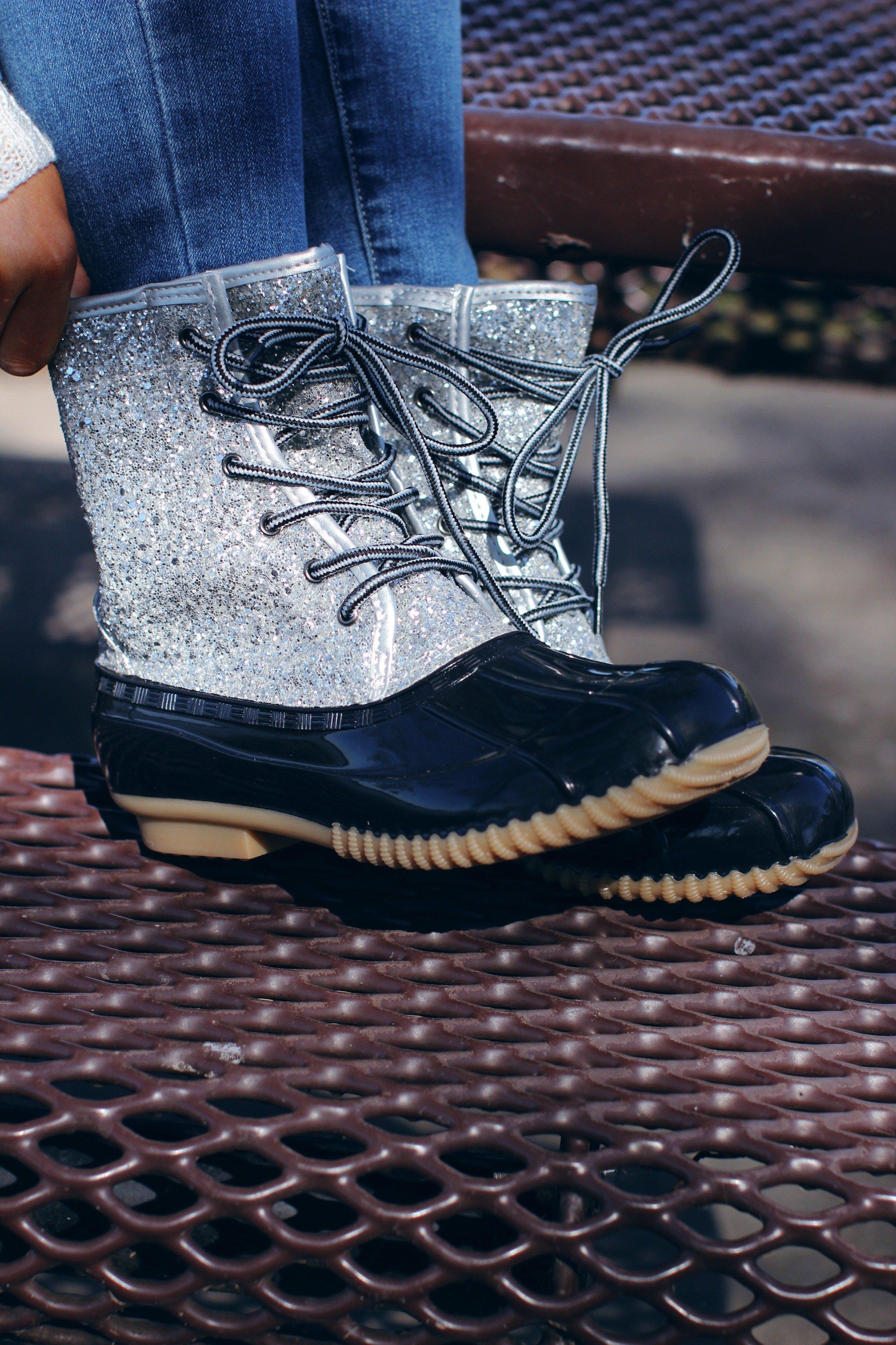 Glitzy Silver Glitter Duck Boots