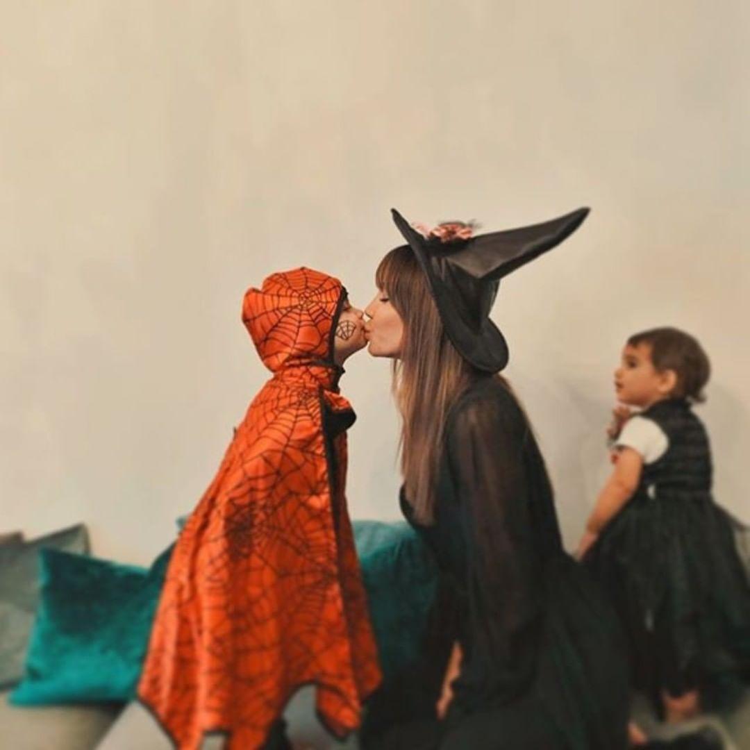 Aline Brum & her Children Luca & Naia Martinez Halloween Party @ javi8martinez @_aline_brum_ #javimartinez #martinez #alinebrum #halloweenmakeup