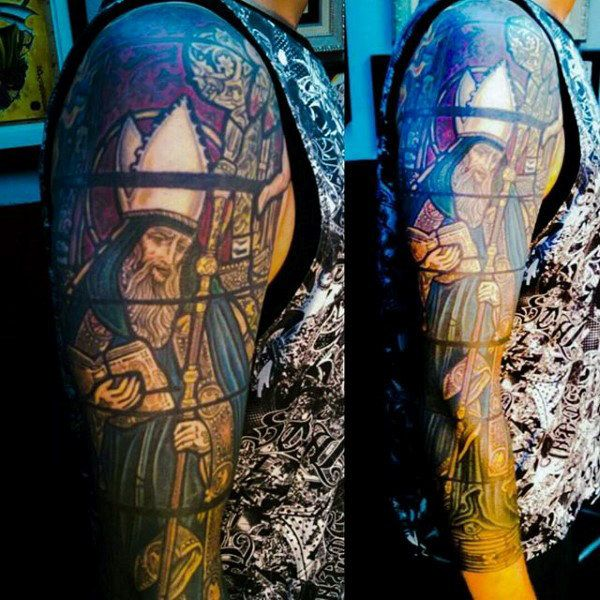 80 Stained Glass Tattoo Designs For Men A Window To Ink
