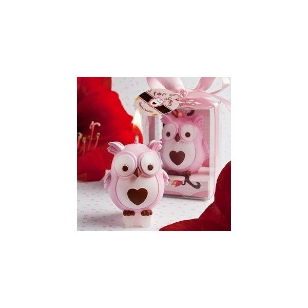 Adorable Pink Owl Candles (£0.77) ❤ liked on Polyvore