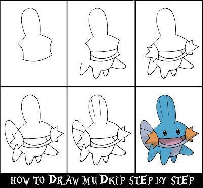 How to draw a pokemon step by step mudkip