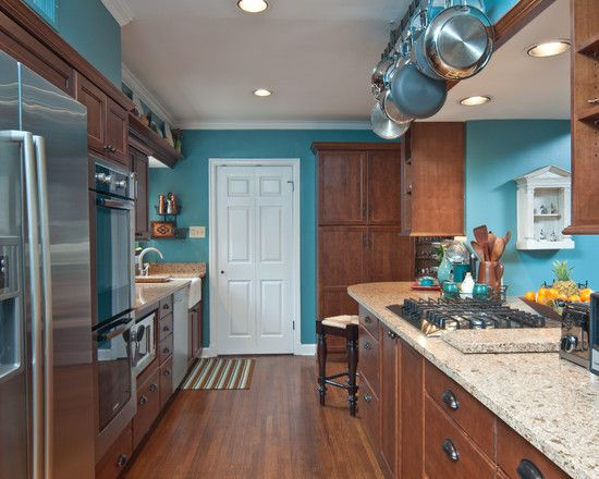 Wood Trim Turquoise Wall Design Pictures Remodel Decor