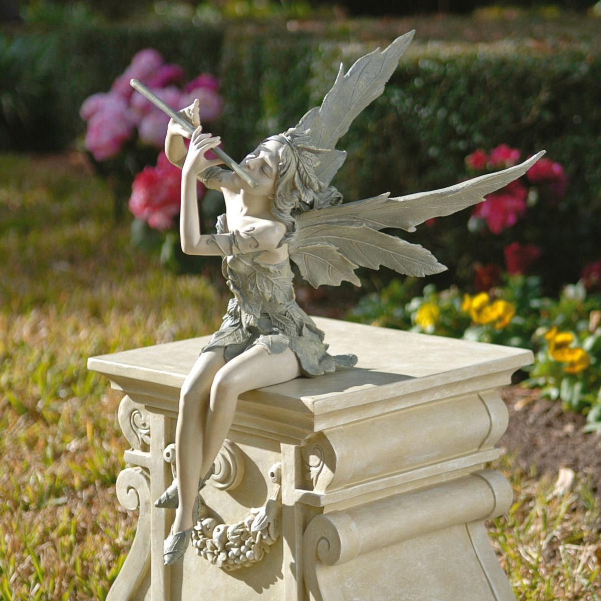 Sitting Fairy Flutist Statue Gardener S Supply 640 x 480