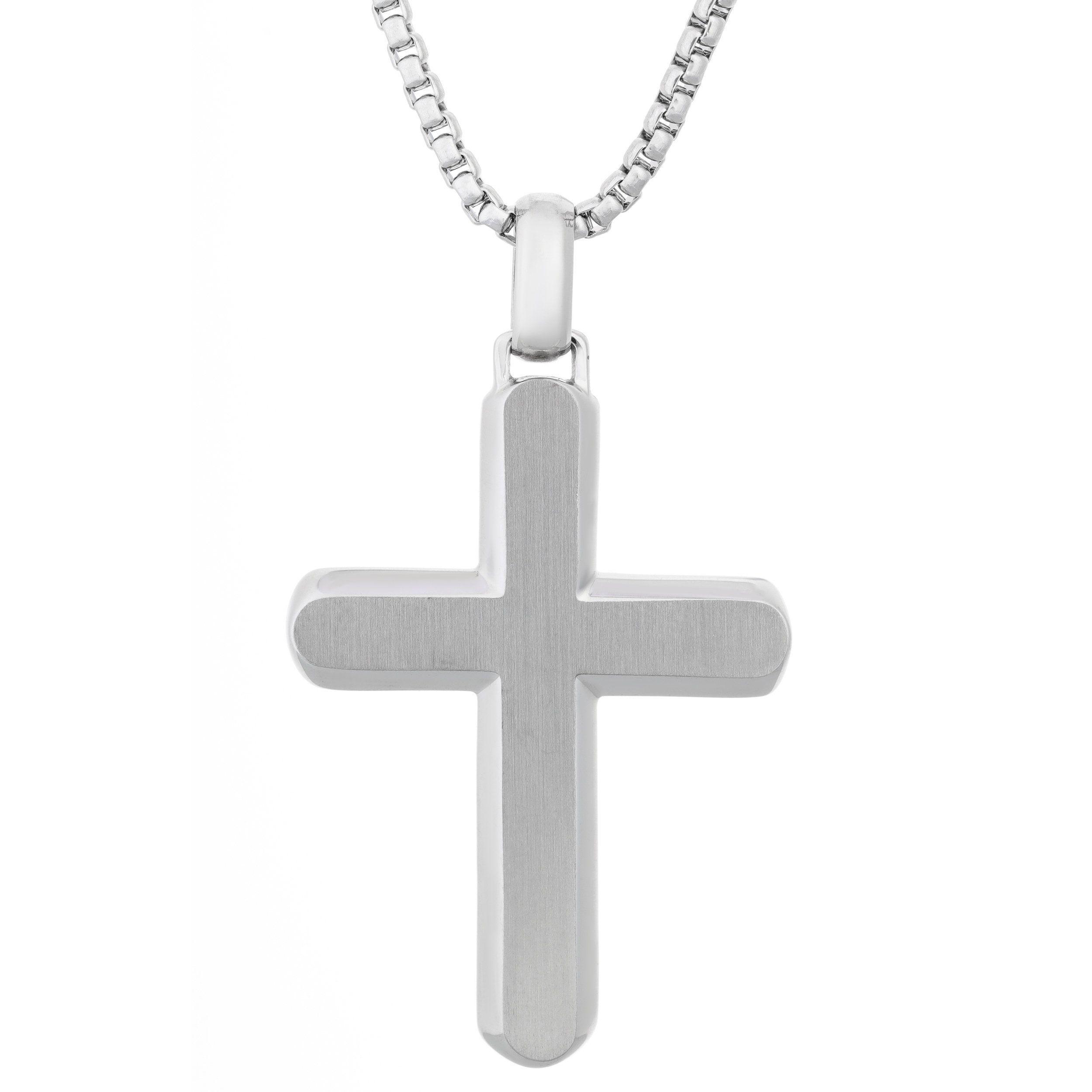 79e7660d56a Stainless Steel Men s Cross Pendant Necklace (Stainless Steel Cross Pendant)