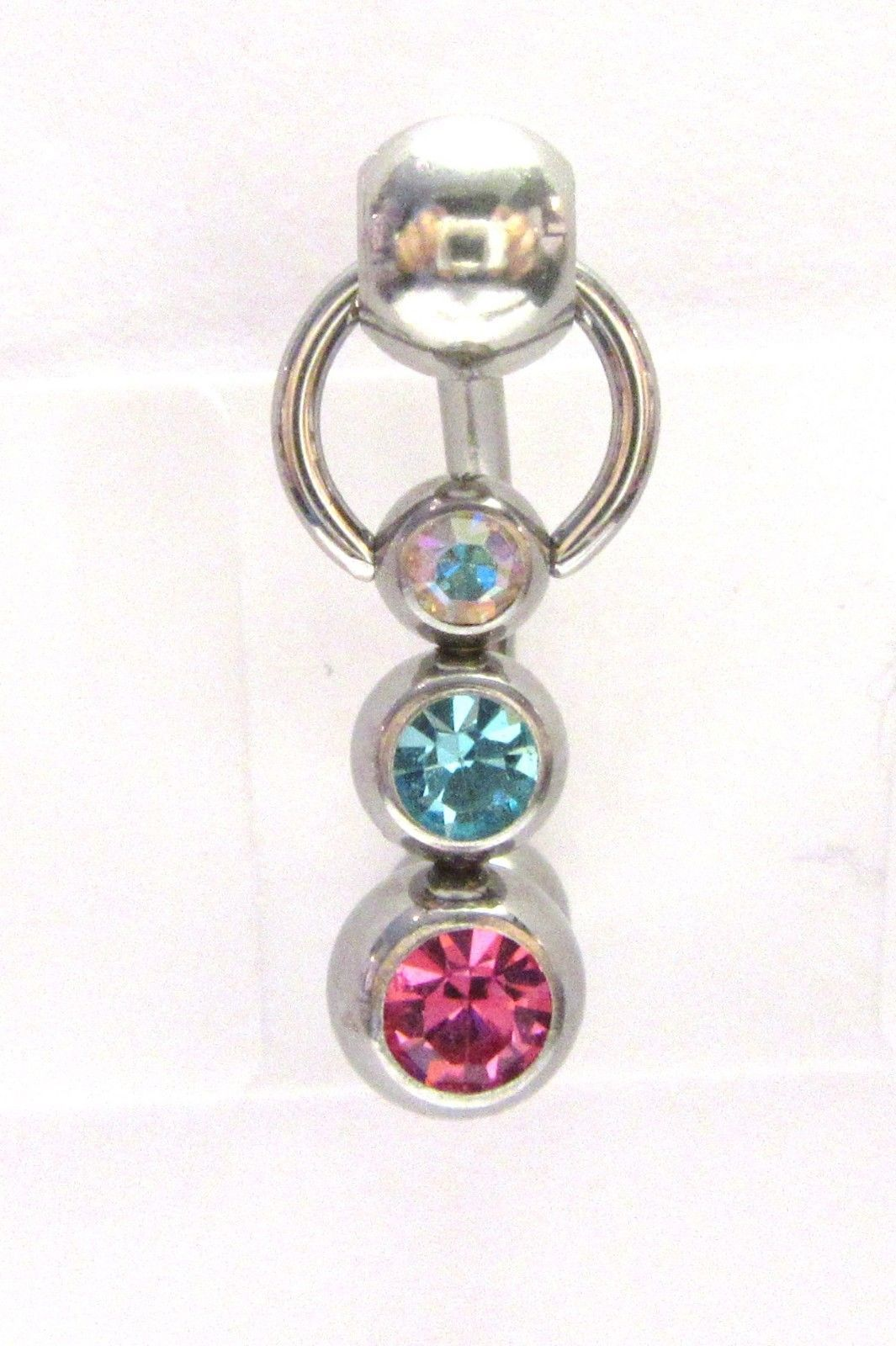 Triple Crystal Ball Dangle Bar Vch Jewelry Clit Clitoral Hood Ring G