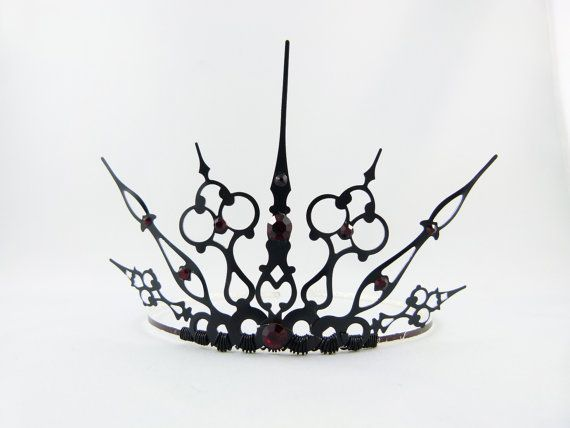 Red Gothique  Black Filigree Gothic Tiara  Made to by angelyques, $50.00