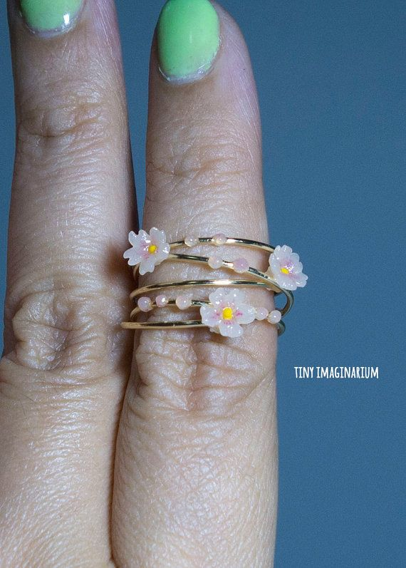 Cherry blossoms gold ring sakura ring polymer by TinyImaginarium
