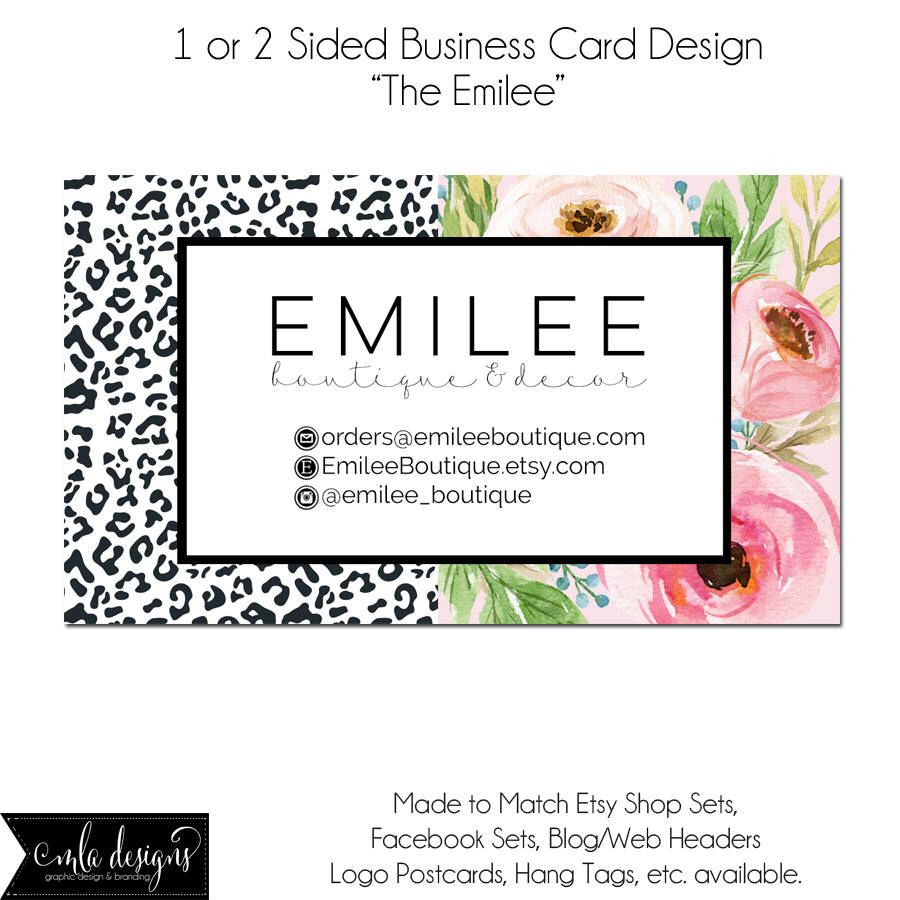 Modern Floral Business Card, Boutique Card, Hang Tag, Watercolor ...